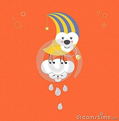 Moon and Cloud in the sky. Cute kawaii animalistic cartoon