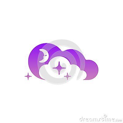 Free Moon, Clouds And Stars Icon. Template Symbol Logo. Night Or Bed Time Sign. Logo Concept In Negative Space Royalty Free Stock Photos - 89777518