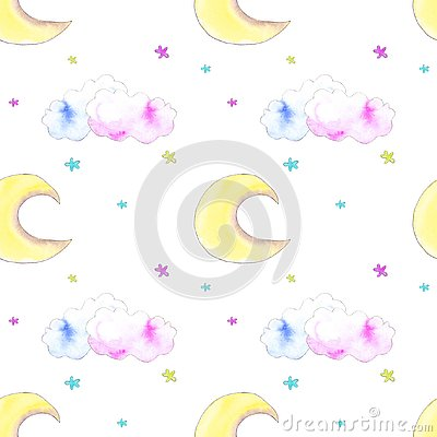 Moon, clouds, stars pattern Stock Photo