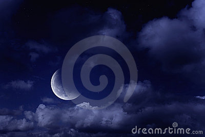 Moon in a cloudy sky