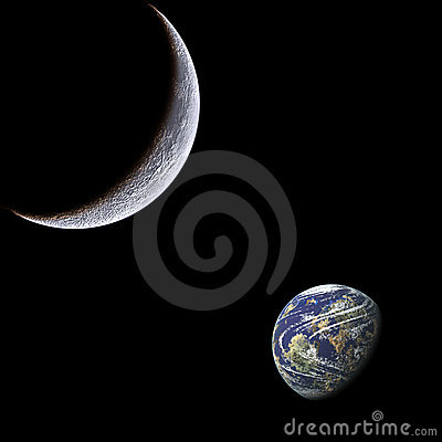 Moon and earth.