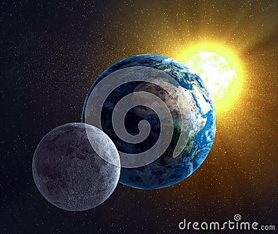 Moon, Earth and the Sun