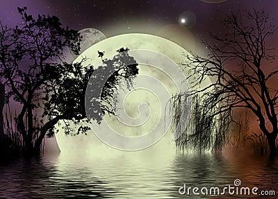 Moon fairy background