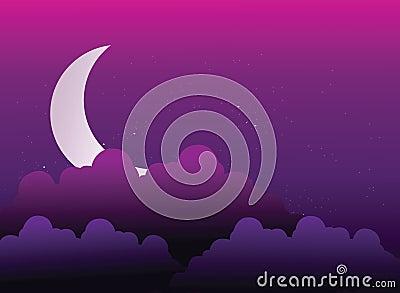 Moon is hidden behind clouds