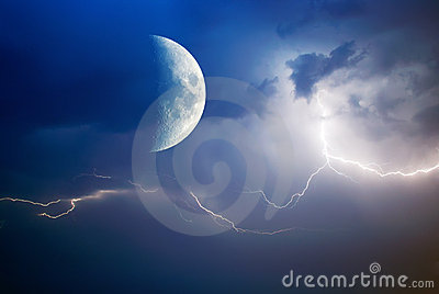 Moon and lightning