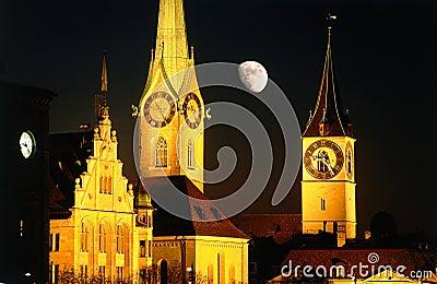 Moon night city Zurich