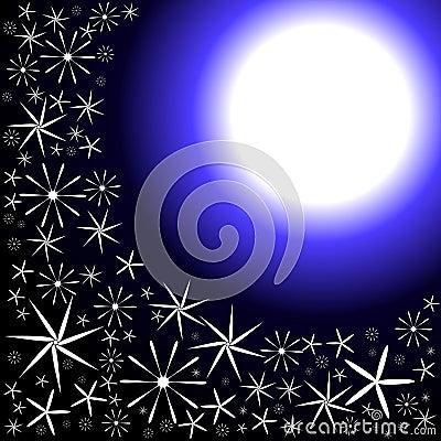 Moon and Night Flowers Invitation Card