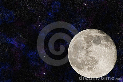 Moon with numerous galaxies