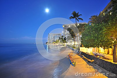 Moon over beach with an outrigger and trees