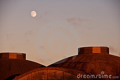 Moon over domed roofs