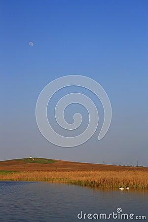 Moon over the lake