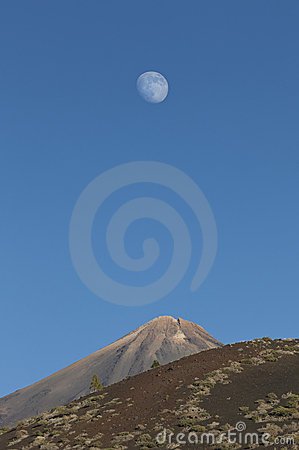 Moon over Mount Teide