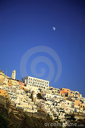 Moon over Oia Santorini