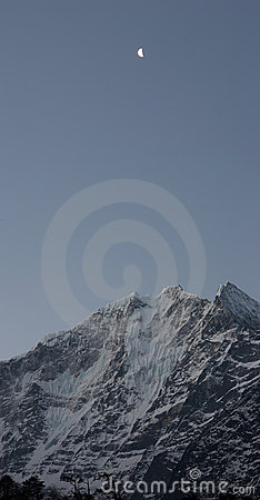 Moon over snow mountain, Himalayas, Nepal