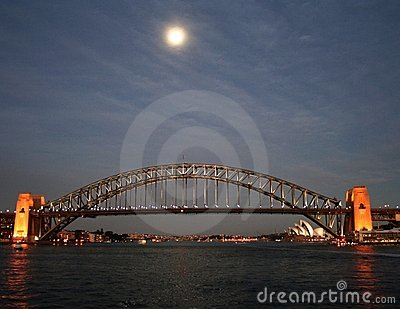 Moon over Sydney Harbour
