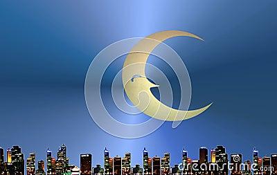 Moon over urban skyline
