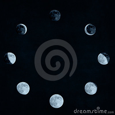 Free Moon Phases Collage Royalty Free Stock Photo - 3730065