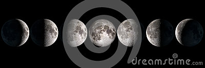 Moon phases collage Stock Photo