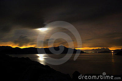 Moon and pond in a cloudy night