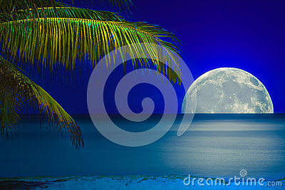 Moon reflected on the water of a tropical beach