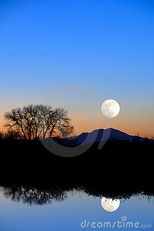 Moon Reflection in Evening Blue
