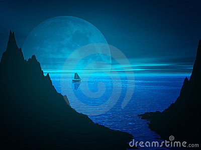 Moon and reflection in sea water