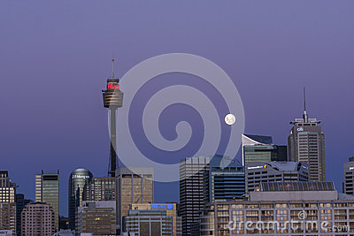 Moon rise over Sydney Editorial Stock Image