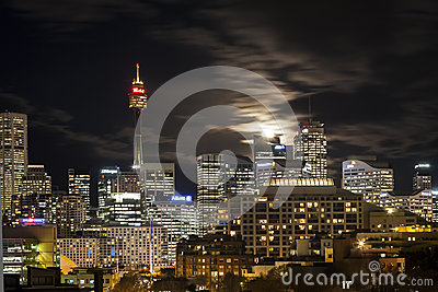 Moon rise over Sydney Editorial Photography