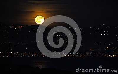 Moon rising in French Riviera
