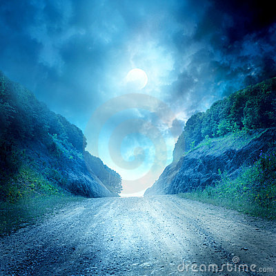 Free Moon Road Royalty Free Stock Image - 20299646