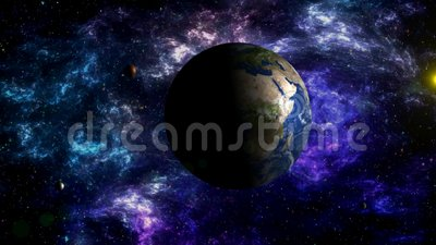 Moon`s movement around the Earth in space Stock Photo