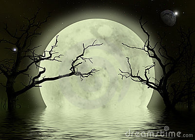 Moon scary fantasy background