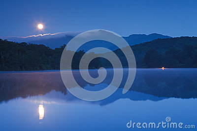 Moon Setting Price Lake, Blue Ridge Parkway NC