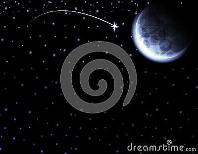 Moon Shooting Star Night Sky