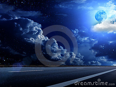 Moon  sky  clouds  road