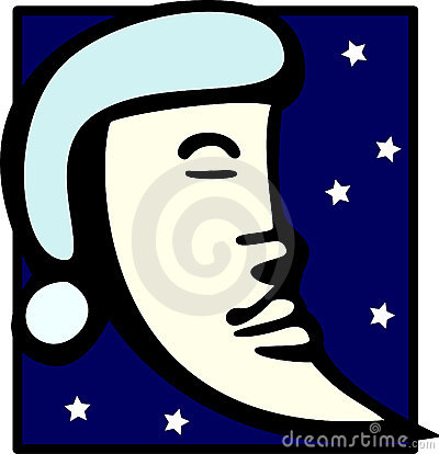 moon sleeping with nightcap vector illustration