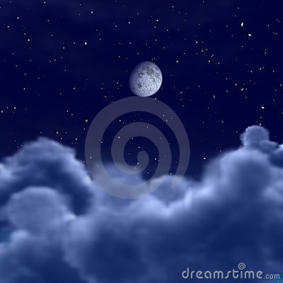 Moon in space or night sky through clouds