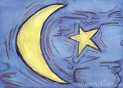Artistic illustration representing a moon and a st