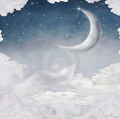 Moon and Star at Night Illustration
