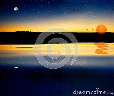 Moon star sun