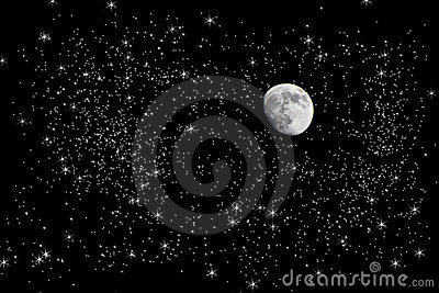 Moon in starry night sky