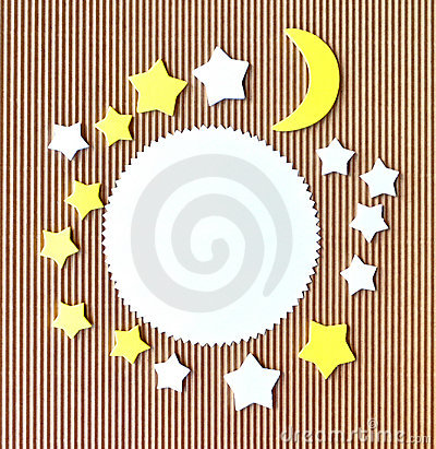 Moon and stars abstract paper cutout border