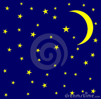 Moon And Stars In The Sky Royalty Free Stock Images