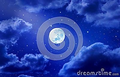 Moon Stars Sky Clouds