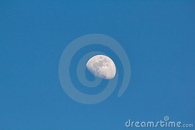 Moon still in the clear sky