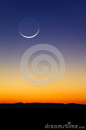 Free Moon Sunset Stock Images - 43572794