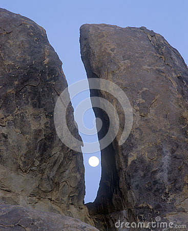 The Moon Between Two Rocks