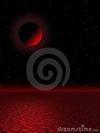Moon view in red