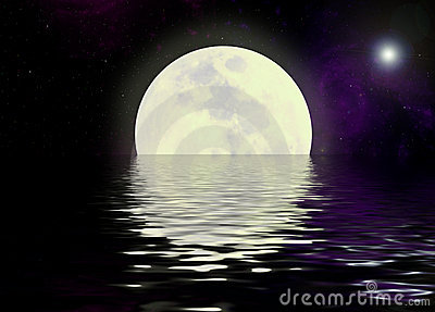 Moon and water reflection