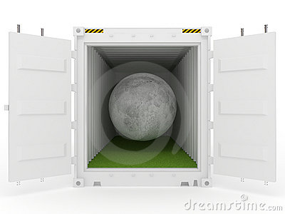 Moon in white cargo container with grass